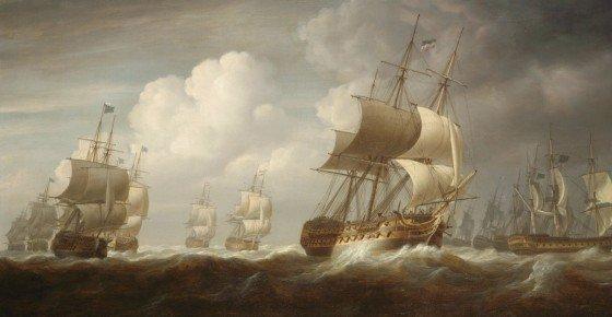 A fleet of East Indiamen at Sea NMM: BHC 1097